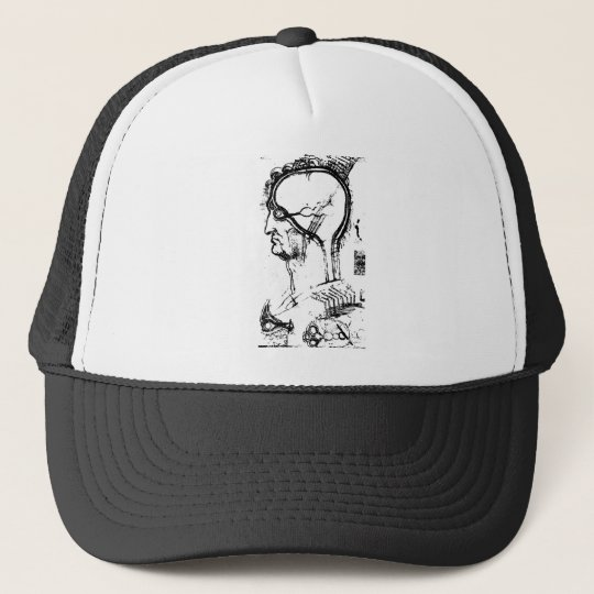 Drawing of parts of the human brain trucker hat