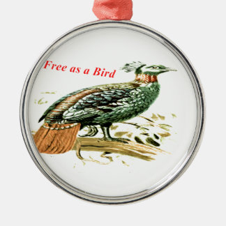 Drawing of pheasant free as a bird metal ornament