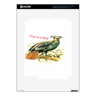 Drawing of pheasant free as a bird skin for iPad 3
