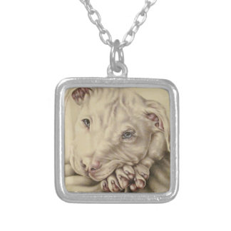 Drawing of Pit bull with Blue Eyes on Necklace