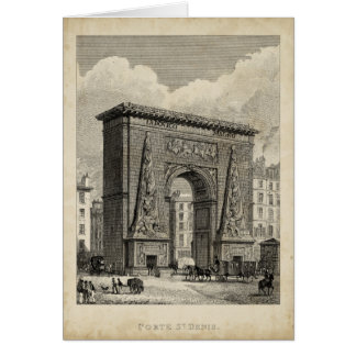 Drawing of Porte Saint-Denis Monument Greeting Cards