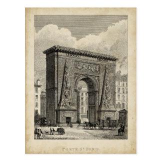 Drawing of Porte Saint-Denis Monument Postcards