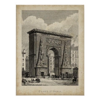 Drawing of Porte Saint-Denis Monument Poster
