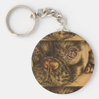 Drawing of Puppy Face Close Up on Keychain