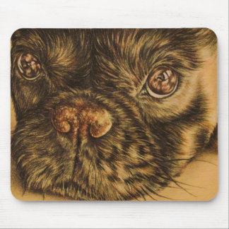 Drawing of Puppy Face Close Up on Mouse Pad