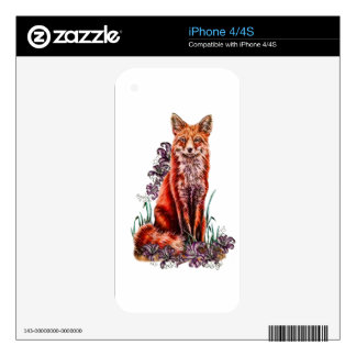 Drawing of Red Fox Animal Art and Lilies Decals For iPhone 4
