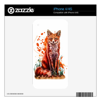 Drawing of Red Fox Animal Art and Orange Paint iPhone 4S Skin