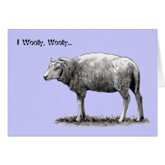 Drawing of Sheep:  I Woolly Woolly Wuv You: Love Greeting Card