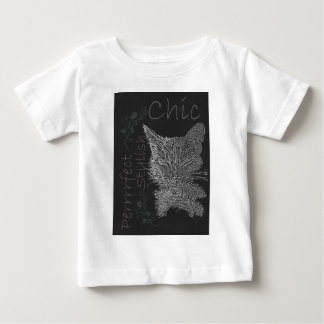 Drawing of Sleepy Cat in Chalk Baby T-Shirt