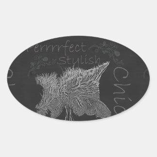 Drawing of Sleepy Cat in Chalk Oval Sticker