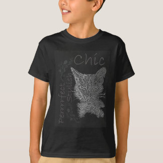 Drawing of Sleepy Cat in Chalk T-Shirt