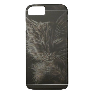 Drawing of Sleepy Cat on Phone Case
