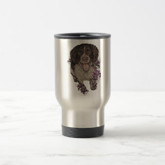 Drawing of Spaniel with Lilies Travel Mug