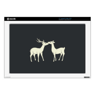 "Drawing Of Sweet Deer Couple 17"" Laptop Skins"