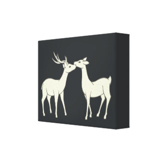 Drawing Of Sweet Deer Couple Canvas Print