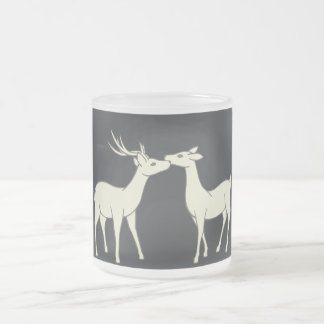 Drawing Of Sweet Deer Couple Frosted Glass Coffee Mug