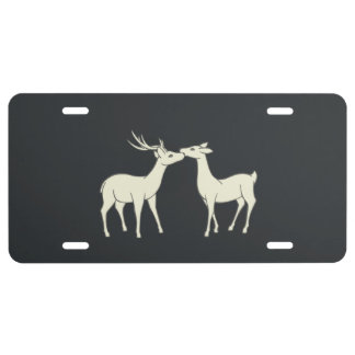 Drawing Of Sweet Deer Couple License Plate