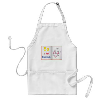 drawing of swimsuit on a book adult apron