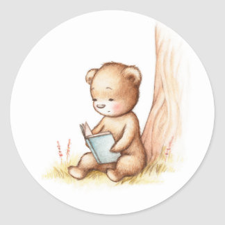 Drawing of Teddy Bear Reading a Book under Tree Classic Round Sticker