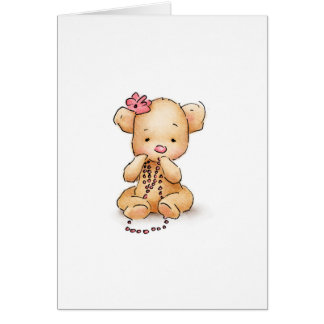 Drawing of Teddy Bear with Pink Beads Card