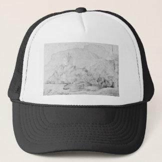 Drawing of the castles of Alsacien Ortenberg Trucker Hat