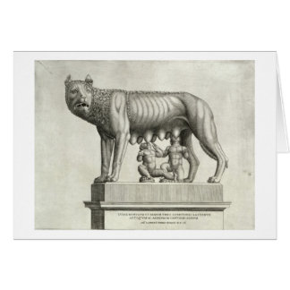 Drawing of the Etruscan bronze of the she-wolf suc Card