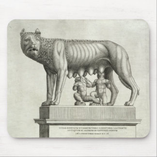 Drawing of the Etruscan bronze of the she-wolf suc Mouse Pad