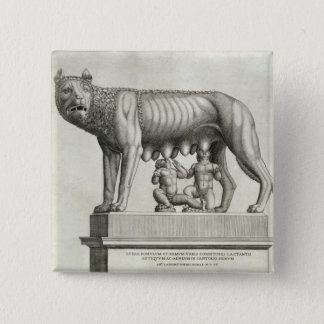 Drawing of the Etruscan bronze of the she-wolf suc Pinback Button