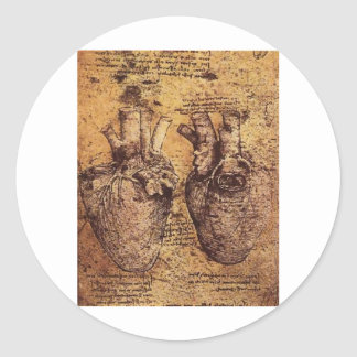Drawing of the heart and its blood vessels classic round sticker