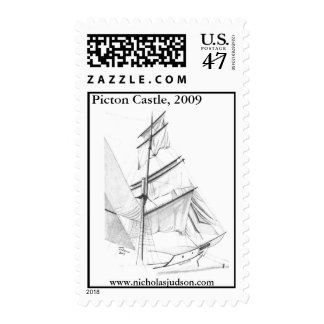 Drawing of the tall ship Picton Castle Stamp