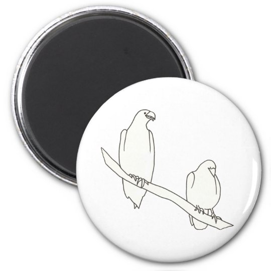 Drawing of Two Eagles on a Branch Magnets