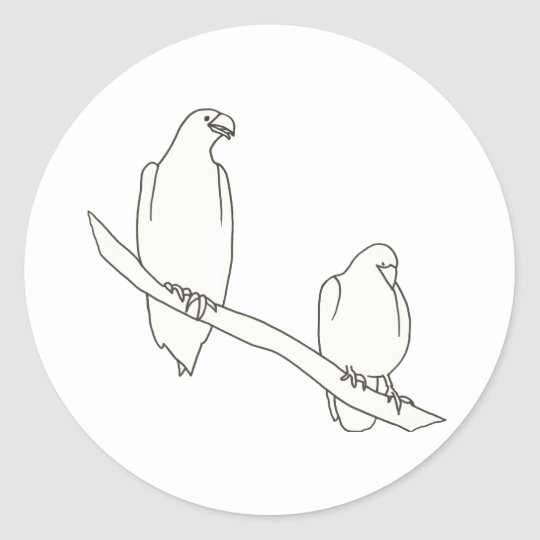 Drawing of Two Eagles on a Branch Stickers