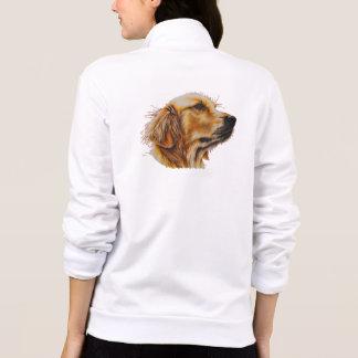 Drawing of Vibrant Golden Retreiver on Fleece Zip Jacket