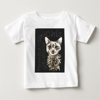 Drawing of White Cat in Chalk Baby T-Shirt