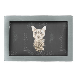 Drawing of White Cat in Chalk Belt Buckle