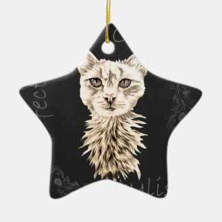 Drawing of White Cat in Chalk Ceramic Ornament