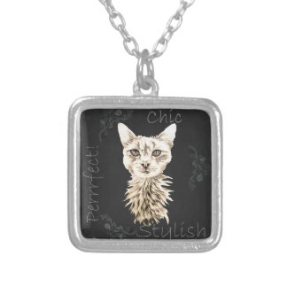 Drawing of White Cat in Chalk Square Pendant Necklace