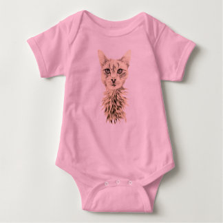 Drawing of White Cat on Baby Shirt