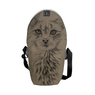 Drawing of White Cat on Bag