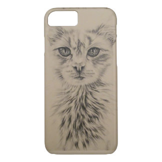 Drawing of White Cat on Phone Case
