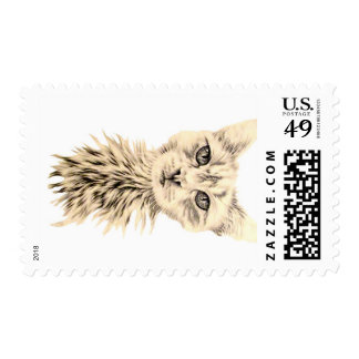 Drawing of White Cat on Stamp