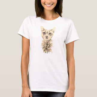 Drawing of White Cat on T Shirt