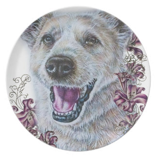 Drawing of White Dog and Lilies Art Dinner Plate