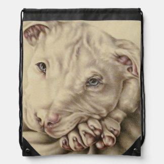 Drawing of White Pit bull and Blue Eyes Backpack