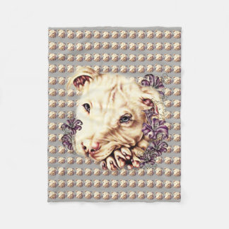 Drawing of White Pit Bull on Blanket