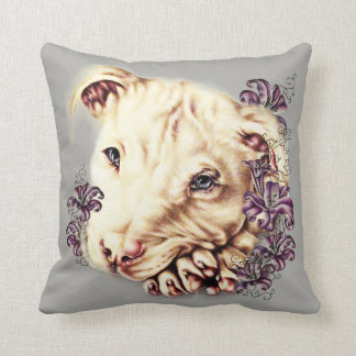 Drawing of White Pit Bull on Pillow