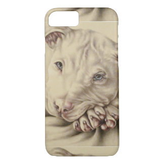 Drawing of White Pitbull on Phone Case