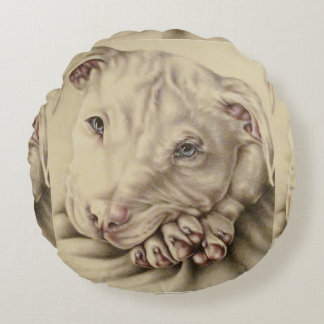 Drawing of White Pitbull on Pillow