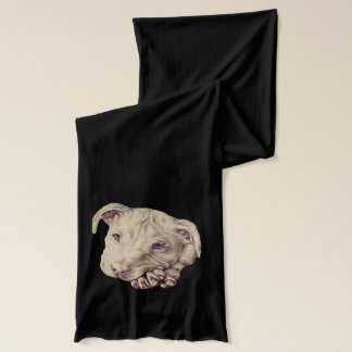 Drawing of White Pitbull on Scarf