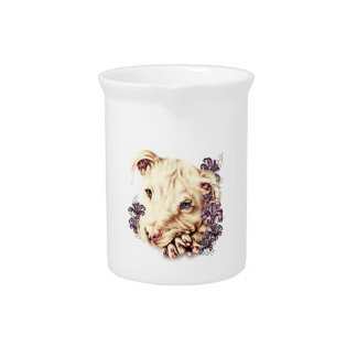 Drawing of White Pitbull with Lilies Drink Pitcher